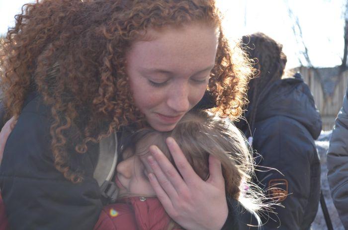 Kate saying goodbye to a dear friend in Slobodskoy